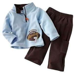 Carters Baby Boys 2 piece Long Sleeve Blue/Brown Football Micro