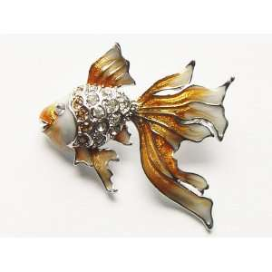 Cute Lovely Topaz Orange Gold Fish Sea Creature Crystal Rhinestone Pin
