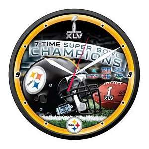 Pittsburgh Steelers 7 Time Super Bowl Champions Clock