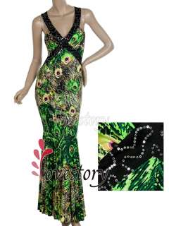 Sexy Backless V Neck Fishtail Peacock Printing Evening Gown 09398 US