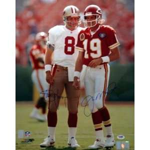 Steve Young & Joe Montana Autographed SF 49ers & KC Chiefs