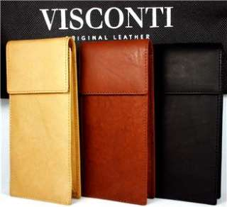 VISCONTI QUALITY GLASSES CASE SOFT LEATHER BLACK BNWT