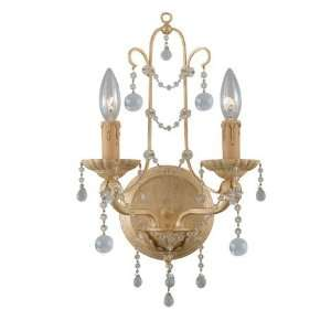 Light 17ö Champagne Wall Sconce with Clear Murano Crystals 4612 CM