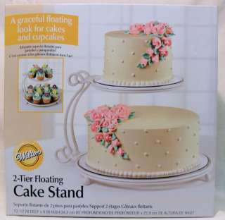 WILTON 2 TIER FLOATING CAKE STAND WHITE 9 HIGH 6 & 10 ROUND CAKES
