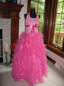 Perfect Angels 1383 Fuchsia Girls Pageant Gown Dress 12