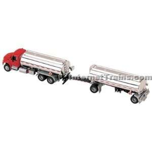 HO Scale International 4300 3 Axle Tanker Truck w/Trailer   Red/Silver