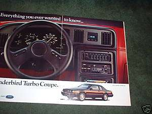 1984 1985 FORD THUNDERBIRD TURBO COUPE VINTAGE CAR AD