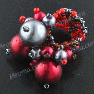 RED HEMATITE SEED BEADS FAUX PEARL ADJUSTABLE ring
