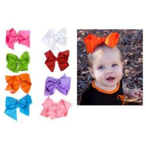 Set of 8 Extra Large 5 Hair Bows in pink hot pink red white orange