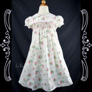 Girls Smocked/Summer/Floral Dress, White NEW 3 4 years