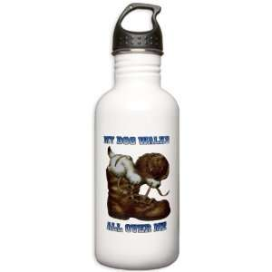 Water Bottle 1.0L My Dog Walks All Over Me Puppy