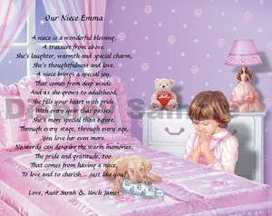 Gift For Niece Personalized Poem Birthday Christmas Gift Bedtime