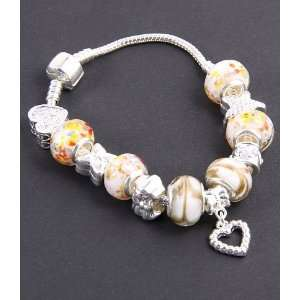 Jewelry Desinger Murano Glass Bead Bracelet with Pattern Yellow