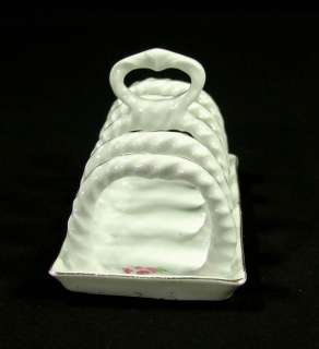 ANTIQUE ART DECO KITCHEN PORCELAIN TOAST SLICE RACK BREAD STAND