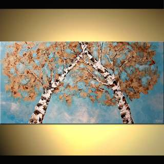 ORIGINAL Abstract Birch Tree Painting on Canvas Palette Knife by OSNAT
