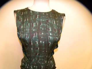 BARNEYS NEW YORK green sleeveless silk dress 38/2 4