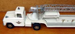 TONKA NO. 5 T.F.D. HYDRAULIC LADDER WHITE FIRE TRUCK HYDRAULIC