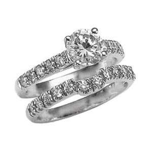 85 carat white gold DIAMOND RING wedding band set