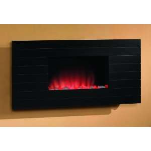 05   36 Wide Wall Hanging Electric Fireplace (Wood with Shadow Lines
