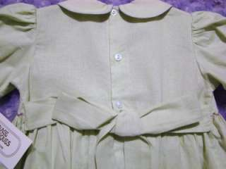CARRIAGE BOUTIQUES SMOCKED SPRING GREEN DRESS W/LAVENDER EMBROIDERY~2T