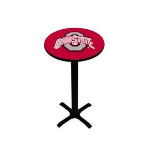 Ohio State Pub Table   Scarlet   Black Pedestal   42 H
