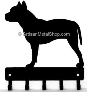 Pit Bull Terrier Dog Leash Hanger Key Rack Holder 5 Hooks Made USA