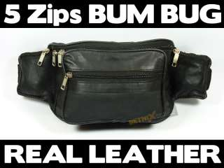 Waist/Bum Bag Black soft Leather belt Travel fanny pack