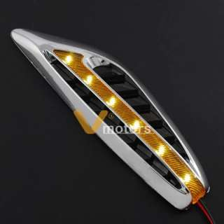 Auto Car Truck Racing LED Light Chrome Fender Vent Air Flow Intake