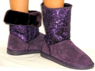 SOoO Cute Sequins Glitter Genuine Suede Leather *FAUX FUR LINED