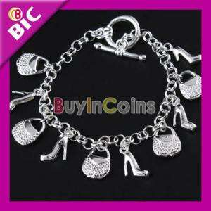 Fashion Charm Women Silver Plated Heeled Shoes Hand Bags Bracelet