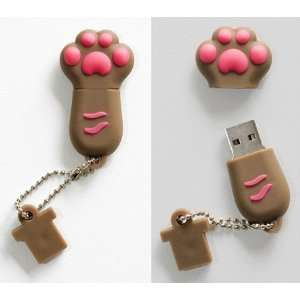 Premium Brown Paw USB Flash Memory Drive 8gb