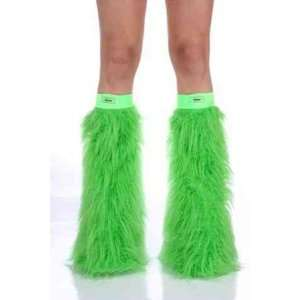 Lime Green Faux Fur Fuzzy Furry Legwarmers Boot Covers