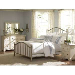American Drew Ashby Park Metal Bed Complete Queen Plated Nickel