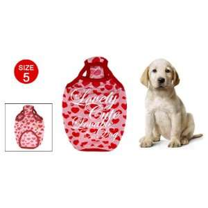 Size 5 Red Hearts Pattern Pet Dog Puppy Doggle Shirt