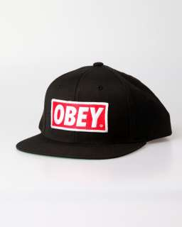 Obey Snap Back Hat Cap Red On Black Snapback