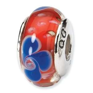 Red with Blue Flowers Murano Glass and .925 Sterling