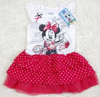 7Y Minnie Mouse Costume Summer Fancy Dress Polka Dots Tutu Skirt NWT