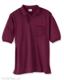 New Hanes Mens 50/50 Jersey Polo Shirt w/ Pocket