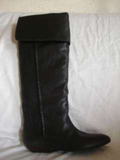Lucky Brand Gai Womens Shoes Size 7.5 Black Leather Boots Over Knee