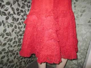 Red Ruffle Layered Lace Flemenco Inspired Dress Claudia Young