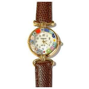Murano Glass Millefiori Watch with Brown Leather Band Jewelry