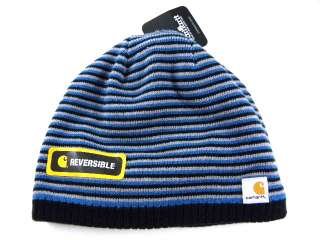 New Carhartt Reversible Blue Strip Fleece Beanie Winter Snow Hat Men
