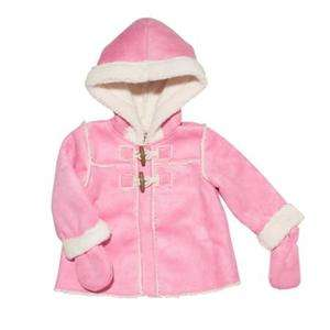NWT OshKosh Infant Girls Pink Fleece Hooded Toggle Coat with Mittens