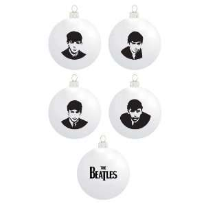Kurt Adler 65mm Beatles Glass Ball 4 Piece Ornament Set