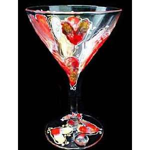 Hearts of Fire Design   Hand Painted   Martini   7.5 oz