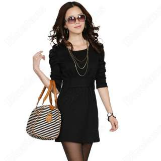 Korean Designer Fashion Womens OL Style Long Sleeve Slim Dress