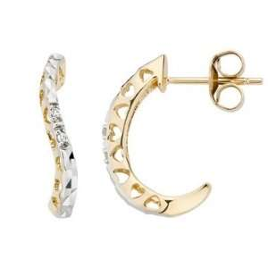 10K Yellow & White Gold Diamond Earrings Jewelry