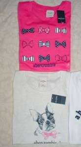 NEW Girls M Abercrombie & Fitch Kids Graphic T Shirt Lot Set 5 Dog Tie