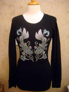 Lucky Brand New Black Thermal Koi Fish Top Large $79. NWT 617089802380