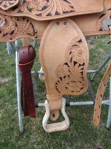 show Trail Pleasure saddle Barrel Western Natural Filigree tooled +Set